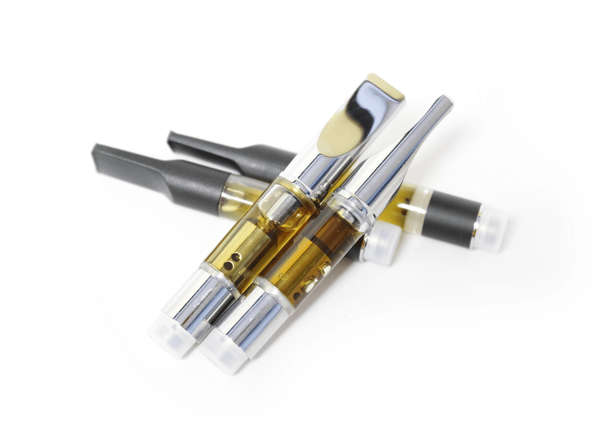 Four Vape Cartridges displaying oil in the cartridges